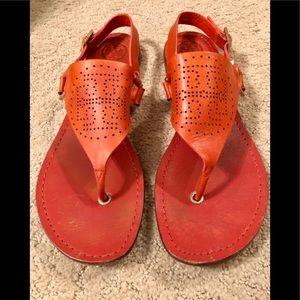 Like new orange leather Tory Burch sandals. Sz9